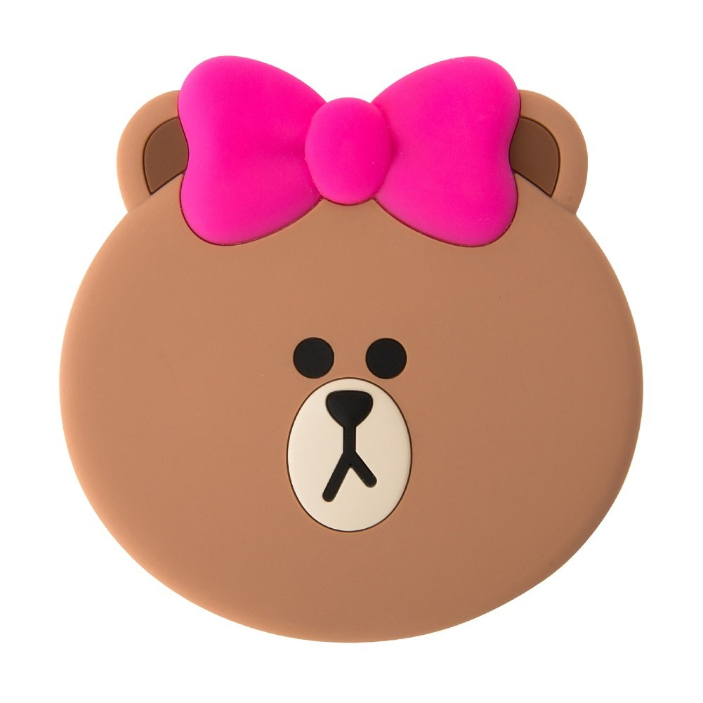 LINE FRIENDS Choco Pink Ribbon Silicon Hand Mirror One Size Brown_Pink