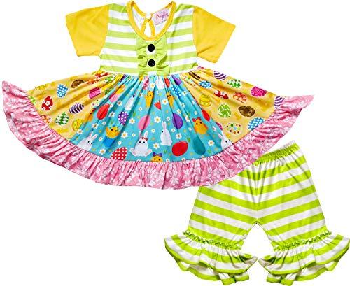 - Boutique Baby Girls Happy Easter Bunny Dress Capri Set Stripes Lime Yellow 12-18M/2XS