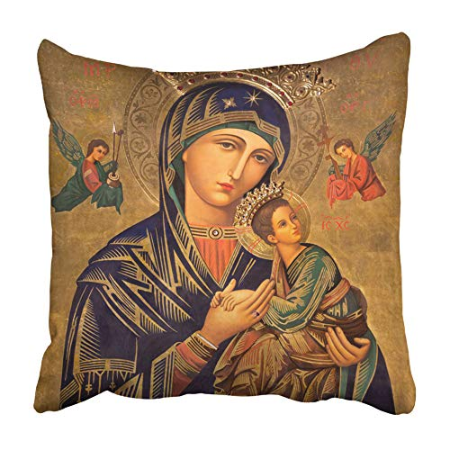 Emvency Throw Pillow Covers Cases Decorative 16x16 inch Zaragoza Spain March The Painting in Church Iglesia Del Perpetuo Socorro by Pater Two Sides Print Pillowcase Case Cushion Cover