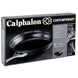Calphalon Contemporary Hard-Anodized Aluminum Nonstick Cookware, Omelette Pan, 12-inch, Black