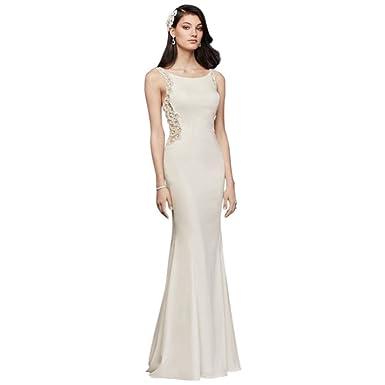 f2ca7739b85e3 David's Bridal Beaded Illusion and Crepe Sheath Wedding Dress Style SV771  at Amazon Women's Clothing store: