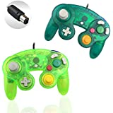 Gamecube Controller, Reiso 2 Packs Classic NGC Wired Controllers for Wii Gamecube(Moss green and Deep green)