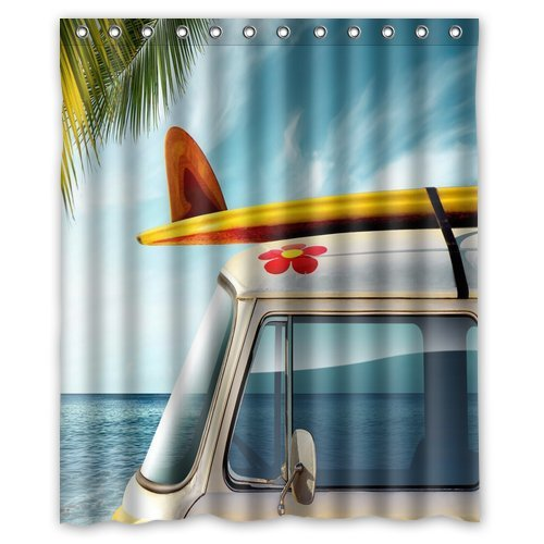 "Vintage Van with Surfboard Waterproof Bathroom Shower Curtain 60""(w) x 72("