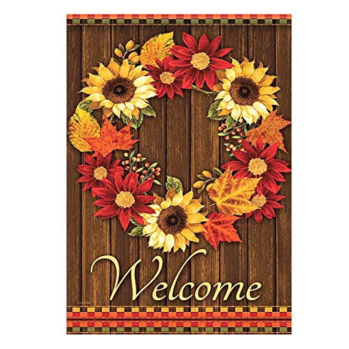 ALAZA Welcome Wreath Sunflower Maple Leaves Cabin Double Sided Garden Yard Flag 12