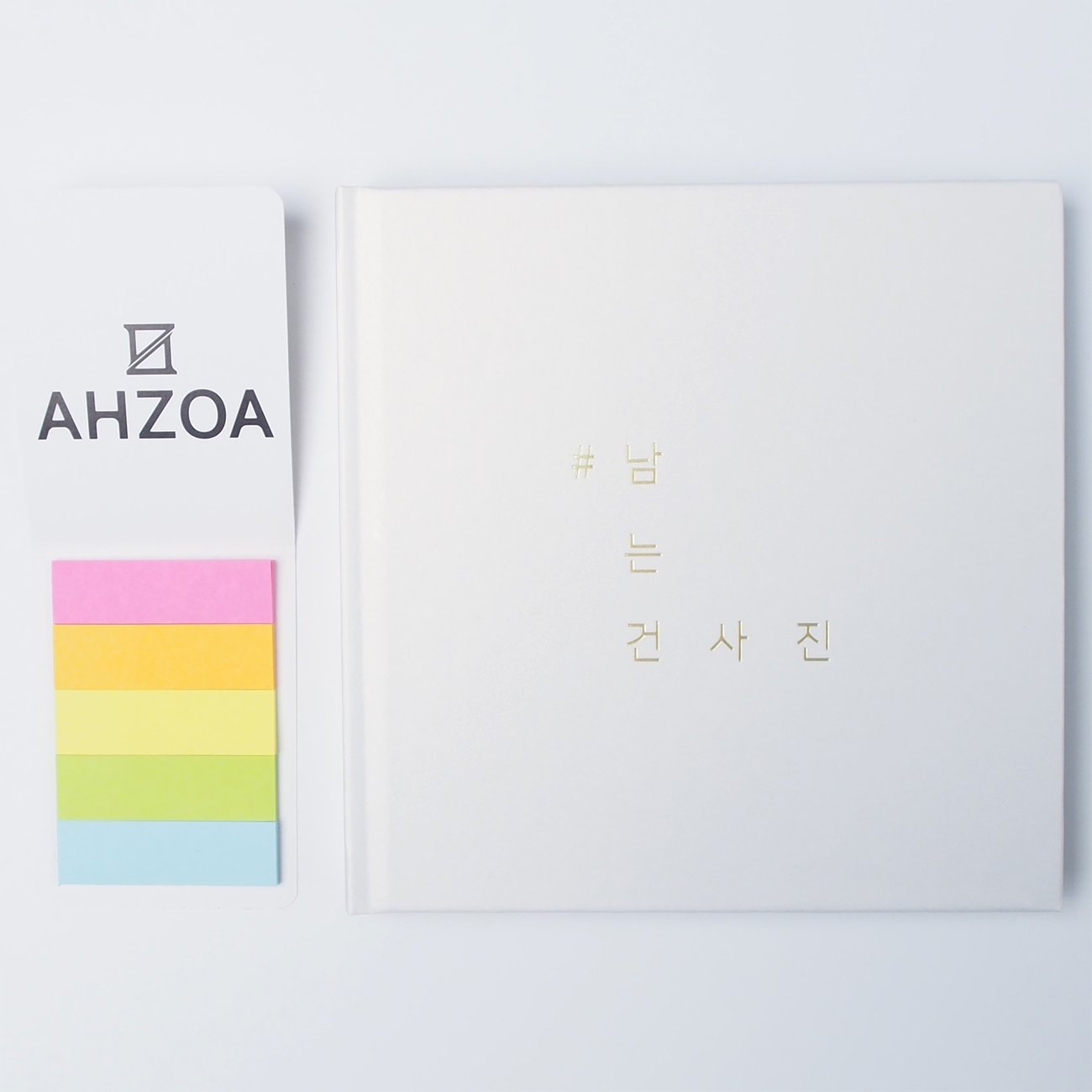 Self-adhesive Photo Album For Instagram with AHZOA 5 Colors Sticky Flag, Black Magnetic Pages, Hardcover Hardback (white)