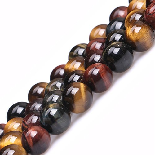 Tiger Eye Beads for Jewelry Making Natural Gemstone Semi Precious 8mm Round Multicolored 15