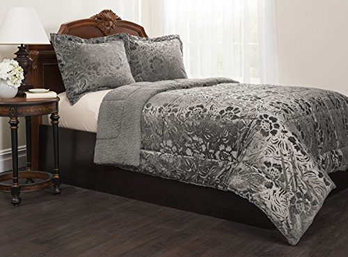 Sherpa Quilted Fleece Comforter Set - Down Alternative Filling  Cozy Comfort & Warm - Matching Pillow Shams Included  Options Of Colors & Sizes.