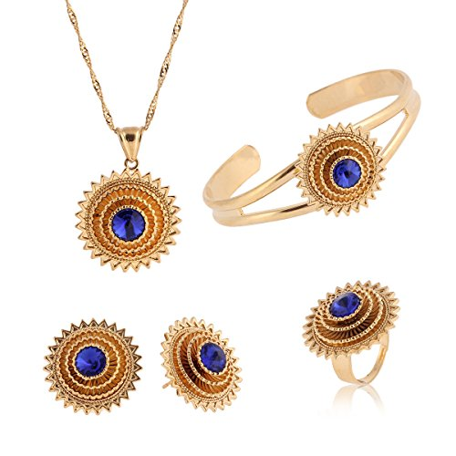 Cooper Plataed Ethiopian Jewelry 22k Gold Plated Pendant Chain Earring Ring Bangle African Wedding Stone Set (Blue)