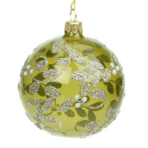 glass olive green christmas bauble 80mm amazoncouk kitchen home - Green Christmas Decorations