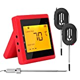 Meat Thermometer, Bluetooth Wireless Cooking Thermometer 6 Probes Ports Digital Meat Temperature Alarm Monitor Meat Food Thermometer Bluetooth Monitoring Device with Stainless Steel For Grill Kitchen