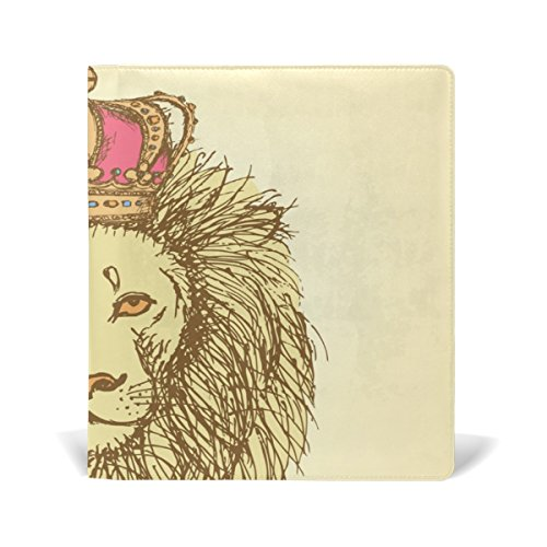 Top AURELIOR Sketch Cute Lion With Crown In Vintage Style Stretchable PU Leather Book Cover 9 x 11 Inches Fits for School Hardcover Textbooks free shipping