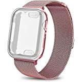 AdMaster Compatible for Apple Watch Band 44mm, Stainless Steel Mesh Milanese Sport Wristband Loop with Apple Watch Screen Protector Compatible for iWatch Series 4 Rose Gold