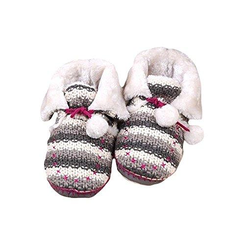 COFACE Mädchen Hübsche Hausschuhe Super Weich Baumwolle Slipper Gestrickte Wolle Rutschfesten Hüttenschuhe Für Winter Grau