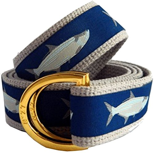 Boys Preppy Belts (No27 Big Boy Tarpon Fish Nautical Belt, Canvas Belt, Medium Tarpon Fish Ribbon on Navy)