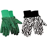 Zoohands®Youth Gardening Gloves, Cotton Jersey, 4 Pair Pack, Zebra & Alligator Print (Med/Large Ages 7-12)
