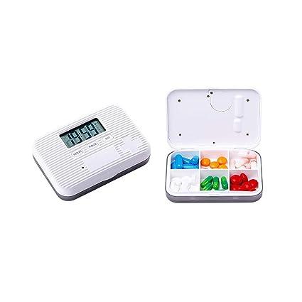FOONEE Dispensador Automático de Píldoras, Organizador Electrónico de Medicamentos con Alertas, Luz Intermitente y
