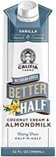 product image for Califia Farms - Vanilla Better Half Coffee Creamer, 32 Oz (Pack of 6) | Half and Half | Coconut Cream and Almond Milk | Non Dairy | Plant Based | Vegan | Keto| Sugar Free | Zero Carb | Shelf Stable