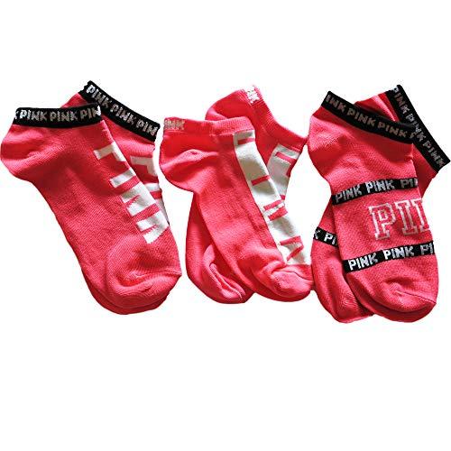 Victoria Secret PINK No Show Socks Set Of 3 LOVE PINKS (Victorias Secret Love Pink Socks)