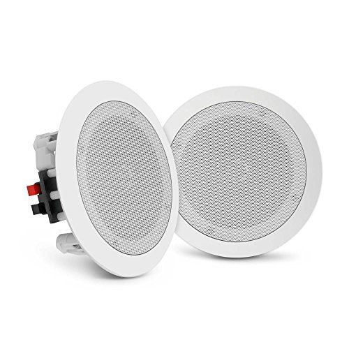 "Pyle Pair Flush 8"" Mount In-wall In-ceiling 2-Way Home Speaker System Spring Loaded Quick Connections Dual Polypropylene Cone Polymer Tweeter Stereo Sound 250 Watts (PDIC1681RD) by Pyle"