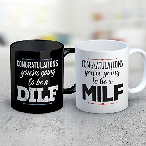 COUPLES Coffee Mug - Congrats MILF DILF COUPLES Funny 11 oz Black White Tea Cups - Unique COUPLES Sayings Gag Gifts (Costume Milf)