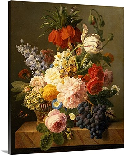 Jan (1764-1840) van Dael Premium Thick-Wrap Canvas Wall Art Print entitled Still Life with Flowers and Fruit, 1827