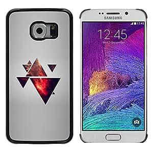 KLONGSHOP // Cubierta de piel con cierre a presión Shell trasero duro de goma Protección Caso - Triángulo Polígono Galaxy - Samsung Galaxy S6 EDGE //
