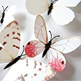 Amaonm 24pcs 3d Vivid Special Man-made Lively Butterfly Art DIY Decor Wall Stickers Decals Nursery Decoration, Bathroom Décor, Office Décor, 3d Wall Art, 3d Crafts for Wall Art Kids Room Bedroom