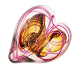 Glass Eye Studio Hand Blown Paperweight Hearts of Fire Pink