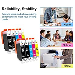 GPC Image 364XL (10Pack) Compatible Ink Cartridges for HP 364 364-XL for HP Photosmart 5510 5520 5522 5520 6520 B8550 C5388 7510 7520 5524 6510 5515, HP Officejet 4620, HP Deskjet 3070A(4B/2C/2 M/2Y)