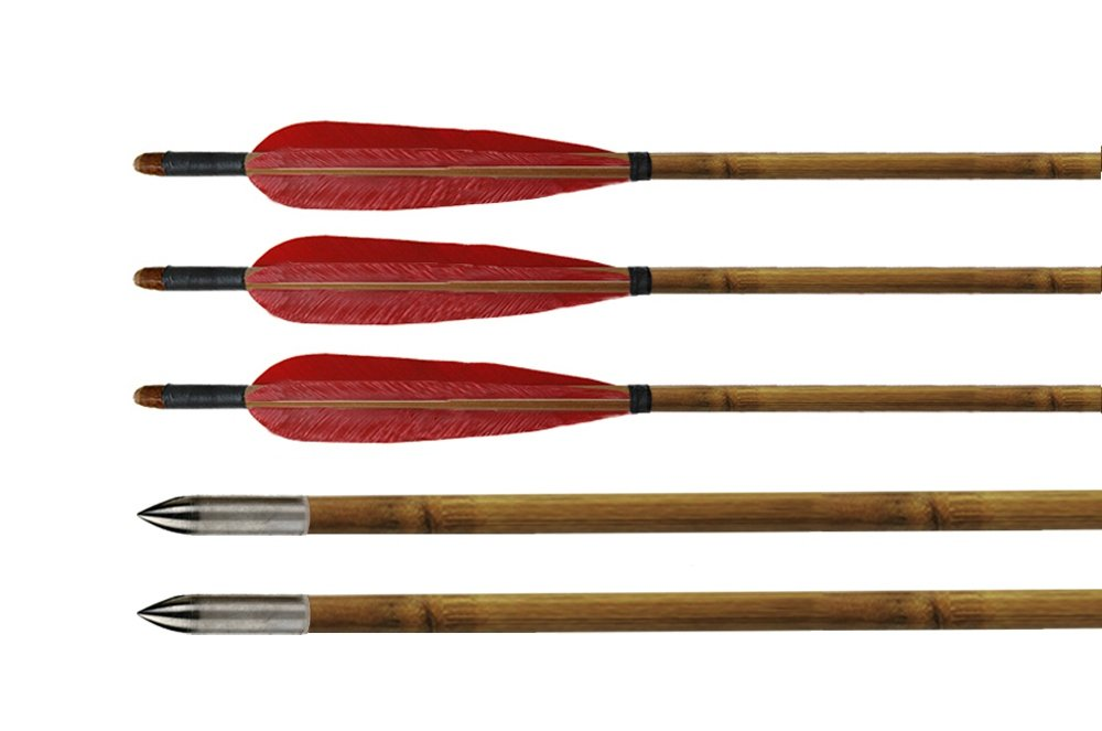 Huntingdoor DIY Red Turkey Feathers Fletching Practice Arrows Bamboo Shaft Archery Target Arrows with Practice Silver Points for Recurve Bow-6pack