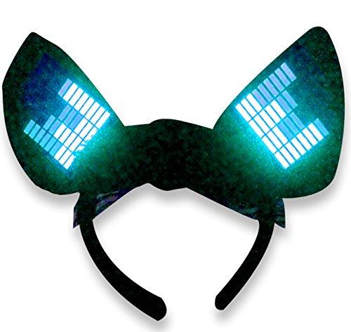 [Original Huboptic JP0 Cyan Cyber Ears - Light Up DJ Cat Kitty Ears - Neko Ears - Cosplay Ears Rave Dancers EDM Ears Gogo dancer cat woman] (Authentic Catwoman Costumes)
