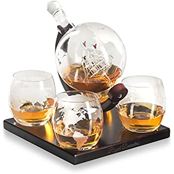 Royal Decanters Etched Globe Whiskey Decanter Gift Set- Includes 4 Glasses & Large Glass Beverage Drink Dispenser also for Brandy Tequila Bourbon Scotch Rum -Alcohol Related Gifts for Dad (850ML)