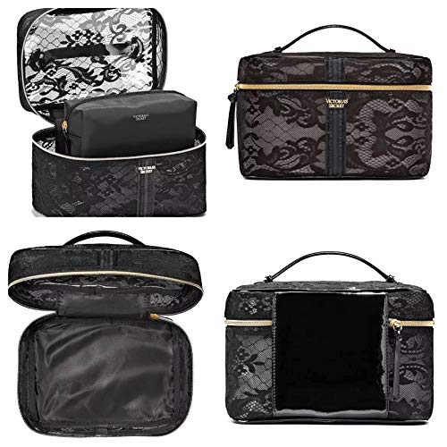 Victoria's Secret Travel Bag Cosmetic Train Case Tote Black Lace 2 Piece Set