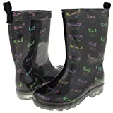 Capelli New York Girl's Smarty Owls Printed Rain Boot Black Combo 12/13