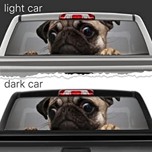 Amazon Com Sad Pug Dog Perforated Vinyl Decal Rear Window