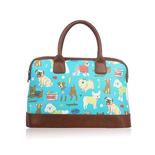 Womens Ladies hule perros bolsa de fin de semana de viaje bolsa de hombro bolso de mano para mujer turquesa