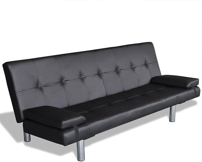 Kunstleder Sofabett Ecksofa Schlafsofa mit zwei Kissen Sofa Bett Schlafcouch DE
