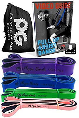 Physix Gear Pull Up Assistance Bands - Best Resistance Loop Bands Set Pullup Assist, Muscle Toning, Stretching, Legs Glutes Crossfit Physical Therapy Pilates & Yoga - Improve Mobility & Strength