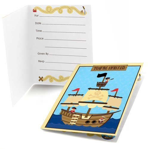 Big Dot of Happiness Ahoy Mates Pirate Fill-in Baby Shower or Birthday Invitations (8 Count) -