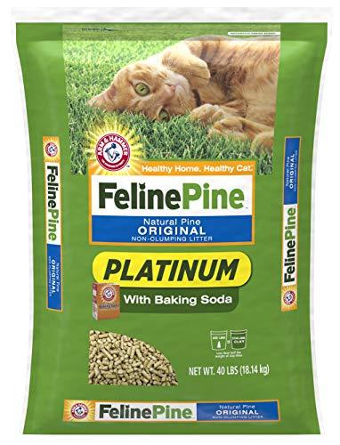 Feline Pine Platinum, 100% Natural Pine Cat Litter, Non-Clumping, 40 Pound