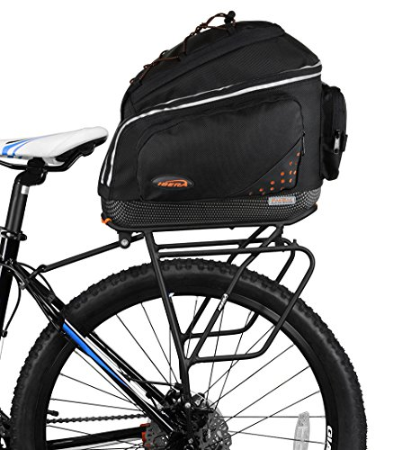 (Ibera Bike PakRak Clip-On Commuter Bag & Touring Carrier Plus+ Rack (Disk Brake Mounts) Combo Set)