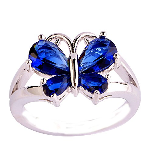 (Empsoul 925 Sterling Silver Natural Stunning Filled Butterfly Sapphire Quartz Proposal Engagement Ring)
