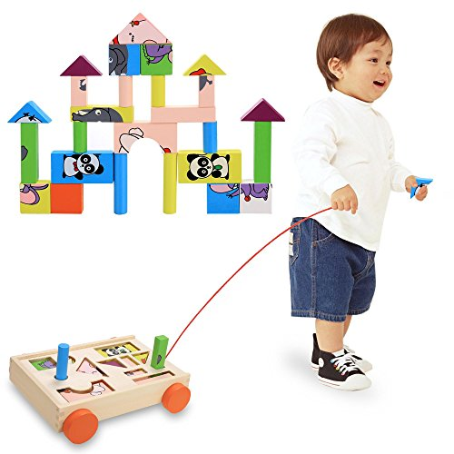 Building Blocks, Baby Kids Wooden Toys Ea...