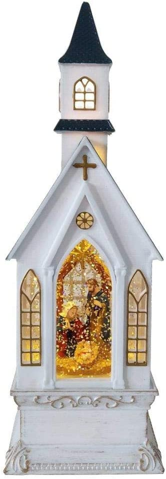 Lightahead Christmas Church Light Lamp with Nativity Scene,Musical Swirling Glitter Warm White LED Light and 8 Melodies Home Christmas Decorations