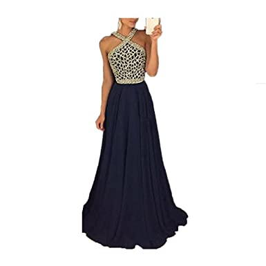 Uryouthstyle 2017 Beaded Chiffon Prom Dresses Halter A-Line Evening Gowns US2 Black