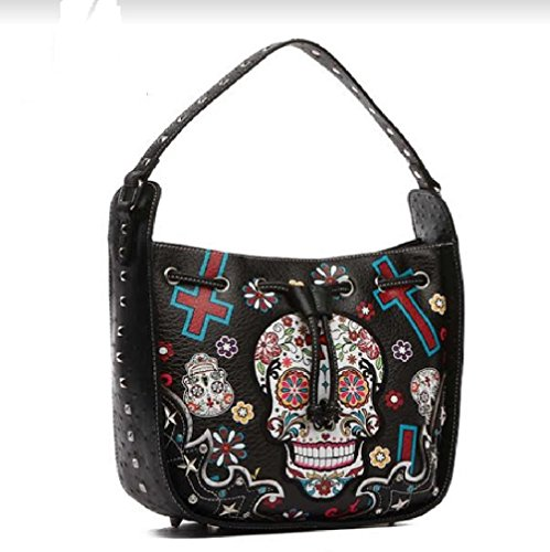and Hobo Bag Wallet Cowgirl Matching Sugar Drawstring with Shoulder Skull Closure Crossbody Strap Black Trendy Removable Western 7qwWw1pU
