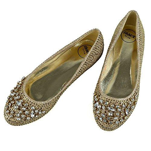 Essex Oro Glitter Nuziale Scarpa Ballerina Diamante Glam Donna xxrwqP4H