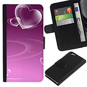 All Phone Most Case / Oferta Especial Cáscara Funda de cuero Monedero Cubierta de proteccion Caso / Wallet Case for Apple Iphone 6 // Love Purple Heart Pattern