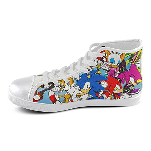 Show-shoes Custom Sonic the Hedgehog and Friends High Top Lace-up Flats Canvas Shoes Soft Comfortable Sneakers for Adult Men (Model002) 12US (Sonic The Hedgehog Sneakers)