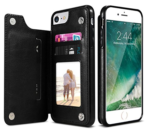for iPhone X, WwWSuppliers Luxury Genuine Leather Wallet Case for Apple iPhone X Credit Card